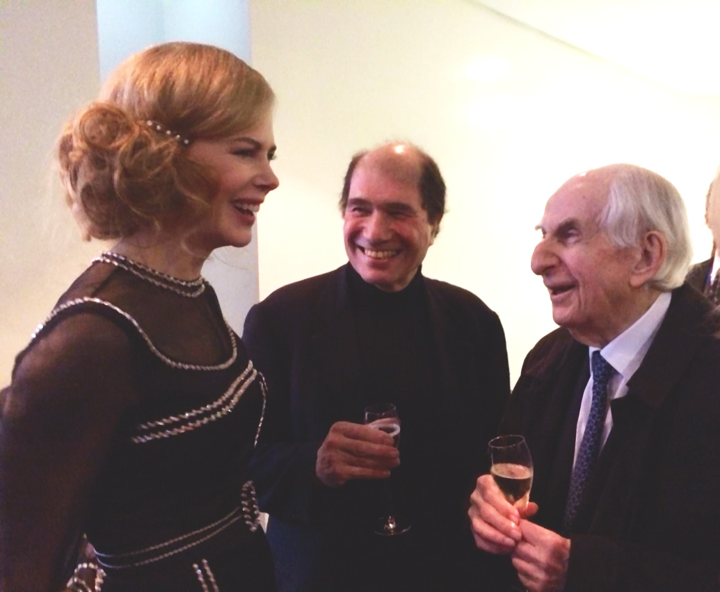 Michael Bond (right) with Michael Berkeley and Nicole Kidman at the Paddington premiere