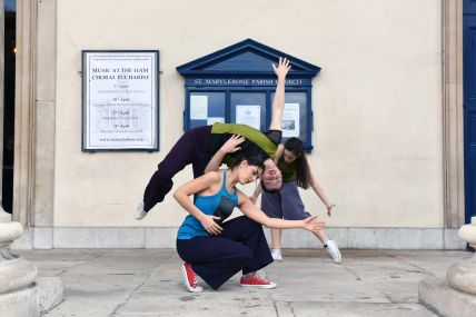 Odd Man Out dance performance outside St. Marylebone Parish Church Crypt in 2016