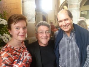 Clare Hammond (left), Robert Saxton (middle) and Michael Berkeley after premiere of Haiku at 2016 Presteigne Festival